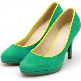 Zelené semišové lodičky 22097 velikost: 40, odstíny barev: zelená