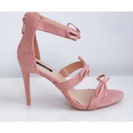 Dámské růžové sandály na podpatku 5055B velikost: 36, odstíny barev: růžová