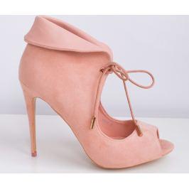 BASIC Dámské růžové boty s otevřenou špičkou 5056B Velikost: 36