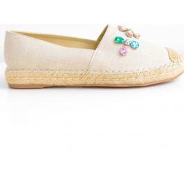 BASIC Dámské béžové plátěné boty s kamínky 8215 Velikost: 41