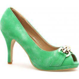 Zelené lodičky s otevřenou špičkou 85839 velikost: 39, odstíny barev: zelená