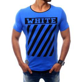 BASIC Pánské modré tričko s pruhy  (rx2566) Velikost: 2XL