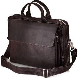 SOLIER Kožená hnědá taška na notebook (SL30 DARK BROWN) Velikost: univerzální