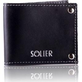 Slim leather men's card holder Solier (SW21 BLACK VINTAGE) Velikost: univerzální