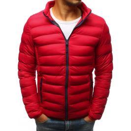 BASIC Červená prošívaná bunda s černým zipem (tx2424) Velikost: M