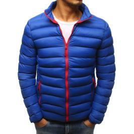 BASIC Modrá prošívaná bunda s červeným zipem (tx2425) Velikost: M