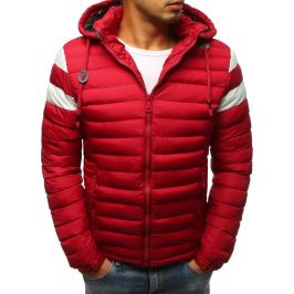BASIC Červená bunda s bílými pruhy na rukávech (tx2400) Velikost: M