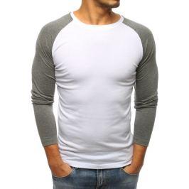 BASIC Bílé tričko s dlouhými šedými rukávy (lx0485) Velikost: 2XL