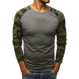 BASIC Šedé tričko se zelenými camo rukávy (lx0478) Velikost: 2XL