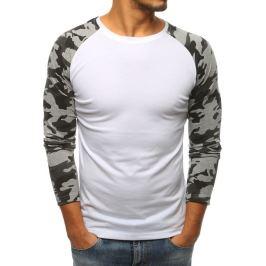 BASIC Bílé tričko s šedými camo rukávy (lx0479) Velikost: 2XL