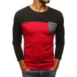 BASIC Červeno-černé tričko s kapsou na hrudi (lx0480) Velikost: M