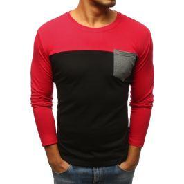 BASIC Černo-červené tričko s kapsou na hrudi(lx0481) Velikost: M