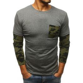 BASIC Pánské antracitové tričko s dlouhým rukávem (lx0487) Velikost: M
