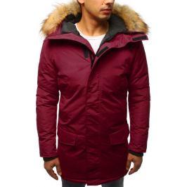 BASIC Pánská bordó zimní bunda s kožichem (tx2439) Velikost: S