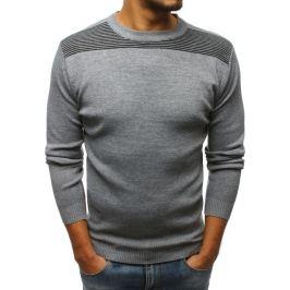 BASIC Šedý svetr bez potisku (wx1169) Velikost: M