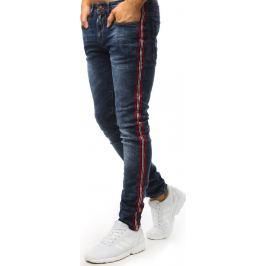 BASIC Modré džíny s dekorativním červeným pruhem (ux1496) Velikost: 28