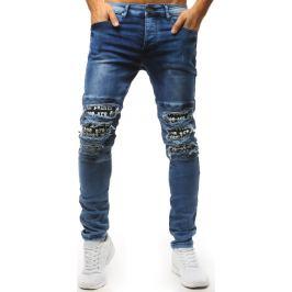 BASIC Modré džíny s roztrhanými koleny a potiskem (ux1531) Velikost: 28