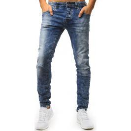 BASIC Modré pánské džíny  s děravými koleny (ux1543) Velikost: 28