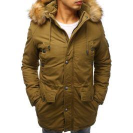 BASIC Pánská khaki zimní bunda s kožíškem (tx2471) Velikost: M