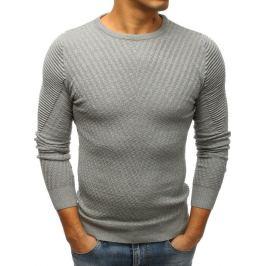 BASIC Šedý pánský svetr s biker rukávy (wx1201) Velikost: M