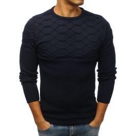 BASIC Tmavě modrý svetr s originálním vzorem (wx1210) Velikost: M