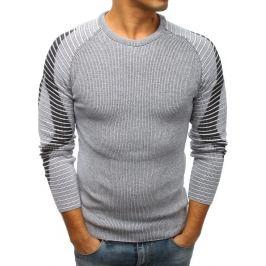 BASIC Šedý svetr s biker rukávy a kontrastním pruhem (wx1213) Velikost: M