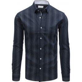 BASIC Pánská modrá košile se vzorem (dx1549) Velikost: M