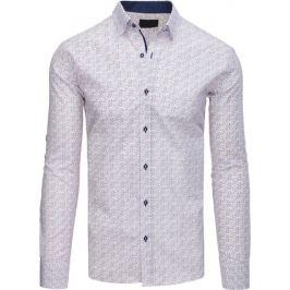 BASIC Pánská bílá košile se vzorem (dx1560) Velikost: L