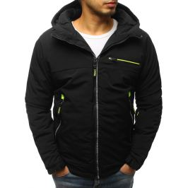 BASIC Černá bunda s kontrastním zeleným zipem (tx2533) Velikost: S