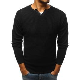 BASIC Černý svetr se třemi knoflíky (wx1111) Velikost: M