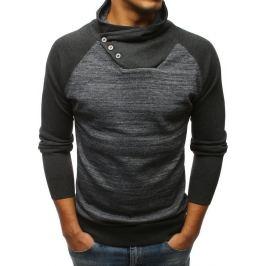BASIC Grafitový svetr s knoflíky na límci (wx1256) Velikost: XL