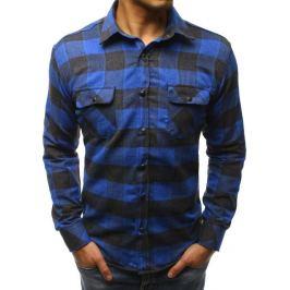 BASIC Modro-černá kostkovaná košile (dx1609) Velikost: 2XL