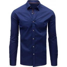 BASIC Elegantní modrá košile s hnědým pruhem (dx1595) Velikost: XL