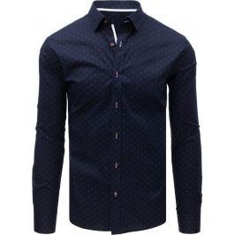 BASIC Tmavě modrá košile s bílo-červeným vzorem (dx1604) Velikost: XL