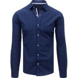 BASIC Modrá košile s trojúhelníčkovým vzorem  (dx1594) Velikost: XL