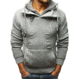 BASIC Pánský šedý pletený svetr (wx1267) Velikost: M