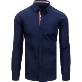BASIC Tmavě modrá pánská košile s pruhy na límečku (dx1690) Velikost: 2XL