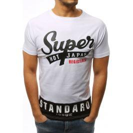 BASIC Pánské bílé tričko s potiskem (rx3017) Velikost: M