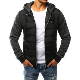 BASIC Pánská černá prošívaná bunda s kapucí (tx1755) velikost: 2XL, odstíny barev: černá