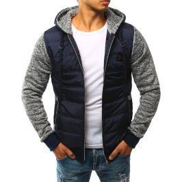 BASIC Pánská modrá prošívaná bunda s kapucí (tx1756) velikost: 2XL, odstíny barev: modrá