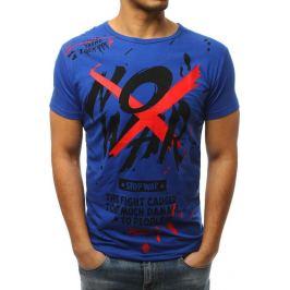 BASIC Pánské modré tričko s potiskem (rx3065) Velikost: M