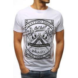 BASIC Pánské bílé tričko s potiskem (rx3076) Velikost: M