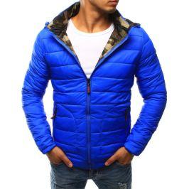 BASIC Modrá prošívaná bunda s maskáčovou kapucí  (tx1779) velikost: 2XL, odstíny barev: modrá
