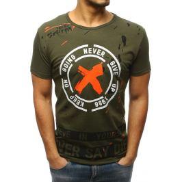 BASIC Pánské zelené tričko s potiskem (rx3079) Velikost: M