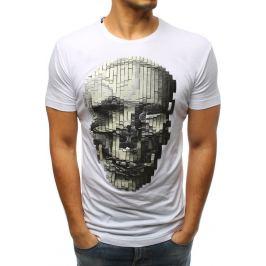 BASIC Pánské bíle tričko s lebkou (rx3201) Velikost: S