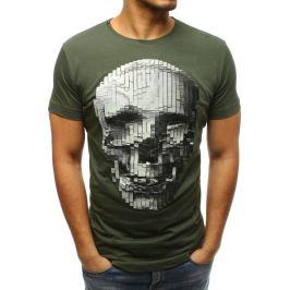 BASIC Pánské khaki tričko s lebkou (rx3202) Velikost: S