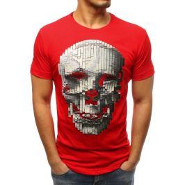 BASIC Pánské červené tričko s lebkou (rx3203) Velikost: S