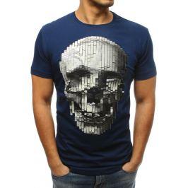 BASIC Pánské modré tričko s lebkou (rx3204) Velikost: S