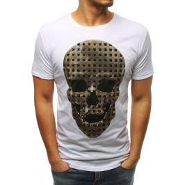BASIC Pánské bílé tričko s lebkou (rx3206) Velikost: S