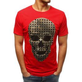 BASIC Pánské červené tričko s lebkou (rx3207) Velikost: S
